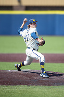 Michigan Wolverines pitcher Jacob Denner (47) delivers a pitch to the plate against the Maryland Terrapins on May 23, 2021 in NCAA baseball action at Ray Fisher Stadium in Ann Arbor, Michigan. Maryland beat the Wolverines 7-3. (Andrew Woolley/Four Seam Images)