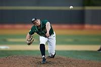 Wake Forest Demon Deacons relief pitcher Bobby Hearn (34) delivers a pitch to the plate against the Louisville Cardinals at David F. Couch Ballpark on March 17, 2018 in  Winston-Salem, North Carolina.  The Cardinals defeated the Demon Deacons 11-6.  (Brian Westerholt/Four Seam Images)