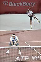 BOGOTÁ -COLOMBIA. 19-07-2013. Purav Raja (IND) (aariba)/Divij Sharan (IND) durante el juego contra Juan Sebastián Cabal (COL)/Robert Farah (COL) en dobles en las semifinales del ATP Claro Open Colombia 2013 realizado hoy en el Centro de Alto Rendimiento en la ciudad de Bogotá./ Purav Raja (IND) (UP)/Divij Sharan (IND) during match against Juan Sebastián Cabal (COL)/Robert Farah (COL)on semifinals of the ATP Claro 2013 today at Centro Alto Rendimiento in Bogota city. Photo: VizzorImage / Str