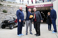 BLACKSBURG, VA - OCTOBER 19: Head coach Mack Brown and athletic director Bubba Cunningham of the University of North Carolina talk with legendary retired head coach Frank Beamer of Virginia Tech during a game between North Carolina and Virginia Tech at Lane Stadium on October 19, 2019 in Blacksburg, Virginia.