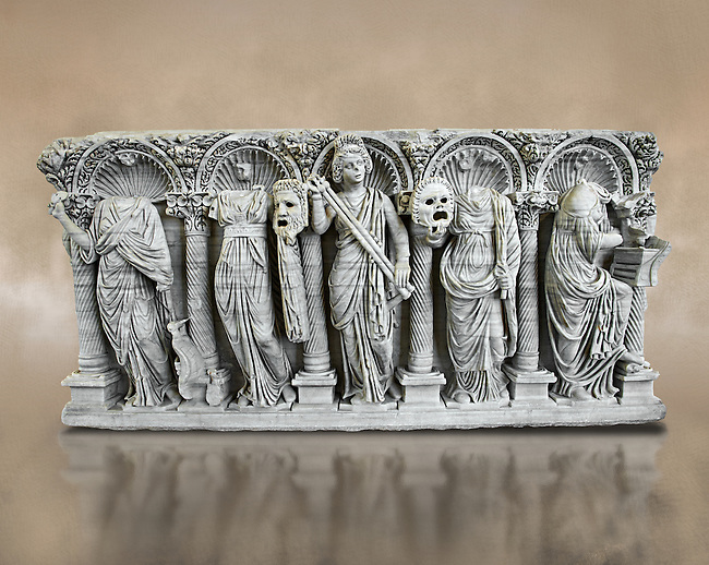 Roman relief sculpture on a sarcophagus side depiction the Muses, circa 280 - 290 AD from the Villa Celimontana. National Roman Musuem, Rome.