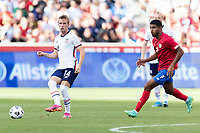 SANDY, UT - JUNE 10: Jackson Yueill #14 of the United States passes the ball during a game between Costa Rica and USMNT at Rio Tinto Stadium on June 10, 2021 in Sandy, Utah.