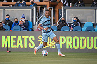 SAN JOSE, CA - MAY 22: Khiry Shelton #11 of Sporting Kansas City dribbles the ball during a game between San Jose Earthquakes and Sporting Kansas City at PayPal Park on May 22, 2021 in San Jose, California.