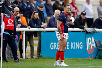 Dan Barnes of London Scottish during the Championship Cup match between London Scottish Football Club and Nottingham Rugby at Richmond Athletic Ground, Richmond, United Kingdom on 28 September 2019. Photo by Carlton Myrie / PRiME Media Images
