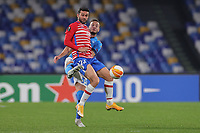 Jorge Molina of Granada CF and Amir Rrahmani of SSC Napoli compete for the ball during the Europa League round of 32, 2nd leg football match between SSC Napoli and Granada CF at Diego Armando Maradona stadium in Napoli (Italy), February 25, 2021.<br /> Photo Cesare Purini / Insidefoto
