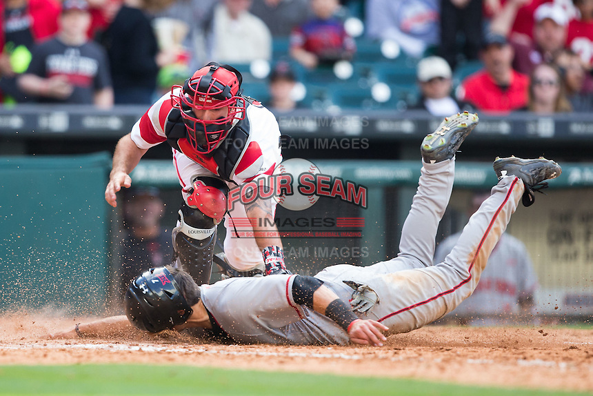 Louisiana-Lafayette Ragin' Cajuns catcher Nick Thurman (6) tags out Ryan Long (7) of the Texas Tech Red Raiders as he tried to score in the top of the 10th inning at Minute Maid Park on February 27, 2016 in Houston, Texas.  The Red Raiders defeated the Rajin' Cajuns 5-3 in 10 innings in game four of the 2016 Shriners Hospitals for Children College Classic.  (Brian Westerholt/Four Seam Images)