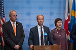 EU8 speaking to the Press at Security Council Stakeout