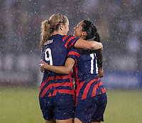 EAST HARTFORD, CT - JULY 1: Lindsey Horan #9 and Christen Press #11 of the USWNT celebrate a goal during a game between Mexico and USWNT at Rentschler Field on July 1, 2021 in East Hartford, Connecticut.