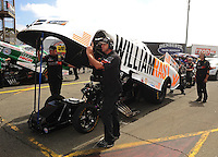 Jul. 31, 2011; Sonoma, CA, USA; Crew members with the car of NHRA funny car driver Brian Thiel during the Fram Autolite Nationals at Infineon Raceway. Mandatory Credit: Mark J. Rebilas-