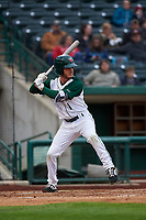 Fort Wayne TinCaps center fielder Grant Little (1) during a Midwest League game against the Quad Cities River Bandits at Parkview Field on May 3, 2019 in Fort Wayne, Indiana. Quad Cities defeated Fort Wayne 4-3. (Zachary Lucy/Four Seam Images)