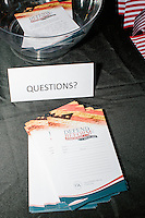 Questions people want to ask Senator Cruz lay on a table before Texas senator and Republican presidential candidate Ted Cruz speaks at a town hall put on by the Concerned Veterans for American at Milford Town Hall in Milford, New Hampshire.