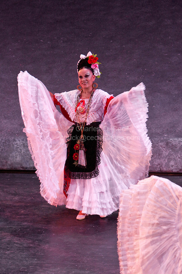"""Female Performer Doing the """"Stamping"""" Dance, Performance of """"Mexico Espectacular"""", Xcaret, Playa del Carmen, Riviera Maya, Yucatan, Mexico."""