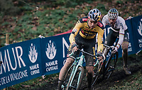 Wout van Aert (BEL/Jumbo-Visma) followed closely by CX world champion Mathieu Van der Poel (NED/Alpecin-Fenix)<br /> <br /> Men's Race<br /> UCI Cyclocross World Cup Namur 2020 (BEL)<br /> <br /> ©kramon