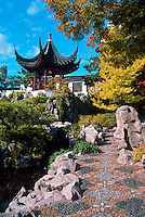 Dr. Sun Yat-Sen Classical Chinese Garden in Chinatown, Vancouver, BC, British Columbia, Canada - Chinese Pagoda in Autumn