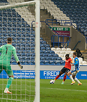 7th November 2020 The John Smiths Stadium, Huddersfield, Yorkshire, England; English Football League Championship Football, Huddersfield Town versus Luton Town; Pelly Ruddock of Luton Town takes a shot on goal