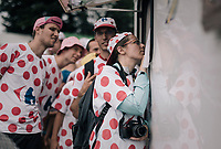 fans watching the race develop via a roadside parked camper up the final HC climb of the day: the Mont du Chat (HC/8.7km/10.3%)<br /> <br /> 104th Tour de France 2017<br /> Stage 9 - Nantua › Chambéry (181km)