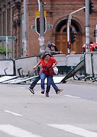 MEDELLIN - COLOMBIA - 01-05-2014: Manifestantes durante el día del Trabajo. Protesters during Labor Day. /Photo: VizzorImage / Luis Rios / Str.