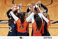 SAN ANTONIO, TX - SEPTEMBER 19, 2017: The University of Texas at San Antonio Roadrunners fall to the University of Texas Longhorns 3-0 (25-18, 26-24, 25-22) at the UTSA Convocation Center. (Photo by Jeff Huehn)
