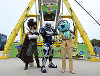 MIAMI BEACH, FL - FEBRUARY 1: FOX SUPER BOWL LIV ACTIVATION AT LUMMUS PARK AND FOX SPORTS SOUTH BEACH STUDIO: Cleatus poses for a photo with Mr. Fox and Ice Cream from The Masked Singer at FOX's weeklong interactive fan experience on the beach in Miami at Lummus Park on February 1, 2020 in Miami Beach, Florida. (Photo by Frank Micelotta/Fox/PictureGroup)
