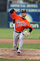 Norfolk Tides pitcher Miguel Gonzalez #51 delivers a pitch during a game against the Empire State Yankees at Dwyer Stadium on April 22, 2012 in Batavia, New York.  Empire State defeated Norfolk 6-5, the Yankees are playing all their games on the road this season as their stadium gets renovated.  (Mike Janes/Four Seam Images)