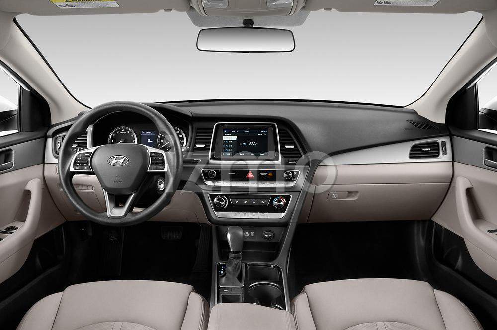 Stock photo of straight dashboard view of 2019 Hyundai Sonata SE 4 Door Sedan Dashboard