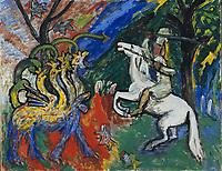 M  Gabriele (1877-1962),  Der Drachenkampf,  ֬ auf Leinwand,  78x100,  Expressionismus,  1913,  Deutschland,  Mus饠national d'art moderne,  Centre Georges Pompidou,  Paris.  VG-Bild-Kunst Bonn | Muenter,  Gabriele (1877-1962),  Drachenkampf (Fight with the Dragon),  Oil on canvas,  78x100,  Expressionism,  1913,  Germany,  Mus饠national d'art moderne,  Centre Georges Pompidou,  Paris.  VG-Bild-Kunst Bonn  Credit: culture-images/fai  Persoenlichkeitsrechte werden nicht vertreten.  Verwendung / usage: weltweit / worldwide