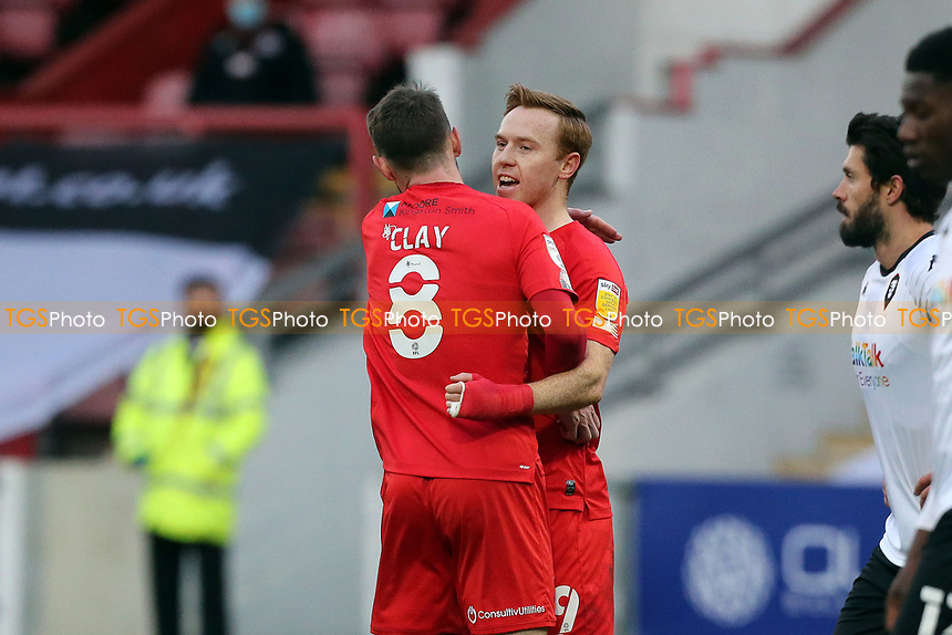 Only scorer of the game O's Danny Johnson celebrates during Leyton Orient vs Salford City, Sky Bet EFL League 2 Football at The Breyer Group Stadium on 2nd January 2021