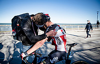 Runner-up finisher Brent Van Moer (BEL/Lotto Soudal) getting/needing some consolation post-finish from his soigneur.<br /> <br /> Stage 6 from Castelraimondo to Lido di Fermo (169km)<br /> <br /> 56th Tirreno-Adriatico 2021 (2.UWT) <br /> <br /> ©kramon