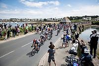 peloton rolling through Britanny, Thomas De Gendt (BEL/Lotto Soudal) leading the way<br /> <br /> Stage 2 from Perros-Guirec to Mûr-de-Bretagne, Guerlédan (184km)<br /> 108th Tour de France 2021 (2.UWT)<br /> <br /> ©kramon