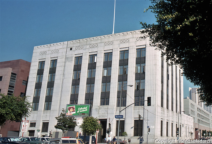Federal Reserve Bank Los Angeles Branch.  Original 1929 building was designed by John and Donald Parkinson in a Classical Moderne style. It was listed on the National Register of Historic Places in 1984. 409 w. Olympic Blvd. Converted to residential lofts.