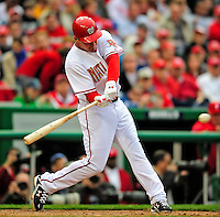 13 April 2009: Washington Nationals' third baseman Ryan Zimmerman connects for a 2-run homer in the 9th inning against the Philadelphia Phillies during the Nats' Home Opener at Nationals Park in Washington, DC. The Nats fell short in their 9th inning rally, losing 9-8, and marking their 7th consecutive loss of the 2009 season. Mandatory Credit: Ed Wolfstein Photo