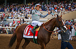 """DEL MAR CA - AUGUST 20: California Chrome #1, ridden by Victor Espinoza win the Grade I """"Win and You're In"""" TVG Pacific Classic at Del Mar on August 20, 2016 in Del Mar, California. (Photo by Zoe Metz/Eclipse Sportswire/Getty Images)"""