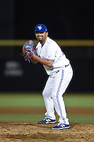 Dunedin Blue Jays pitcher Tiago Da Silva (41) gets ready to deliver a pitch during a game against the Clearwater Threshers on April 10, 2015 at Florida Auto Exchange Stadium in Dunedin, Florida.  Clearwater defeated Dunedin 2-0.  (Mike Janes/Four Seam Images)