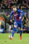 Gerard Pique of FC Barcelona looks to bring the ball down during the La Liga 2017-18 match between FC Barcelona and Deportivo La Coruna at Camp Nou Stadium on 17 December 2017 in Barcelona, Spain. Photo by Vicens Gimenez / Power Sport Images