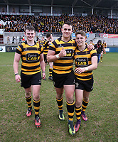 Friday 17th March 2017 | ULSTER SCHOOLS CUP FINAL<br /> <br /> Neil Saulters, James Hume, Rhys O'Donnell after the Ulster Schools Cup Final between RBAI and MCB at Kingspan Stadium, Ravenhill Park, Belfast, Northern Ireland.<br /> <br /> Photograph by John Dickson | www.dicksondigital.com