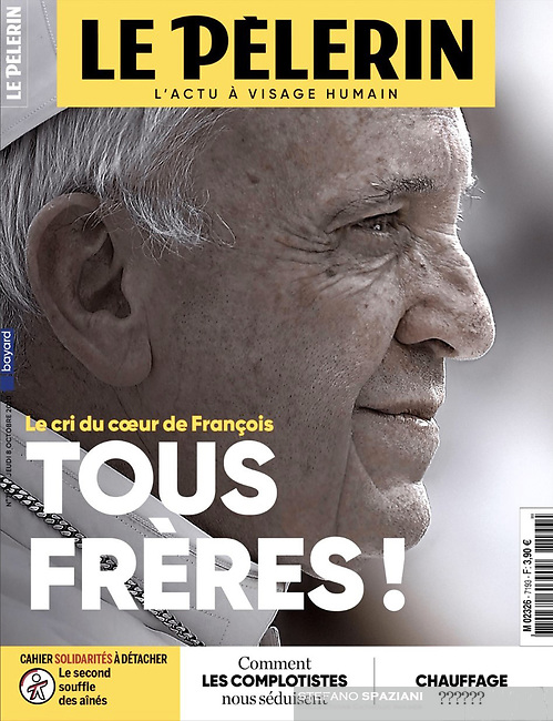 Pelerin France Magazine Pope Francis on October 8, 2020<br /> Photograph by Stefano Spaziani.