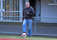 """Photographer Dave """"Journeyfan"""" Webster helps out during the Women's Central League Football match between Wellington United and Palmerston North Marist at Newtown Park in Wellington, New Zealand on Saturday, 4 July 2020. Photo: Dave Lintott / lintottphoto.co.nz"""