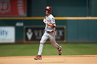 Peyton Graham (20) of the Oklahoma Sooners rounds the bases after hitting a home run against the Missouri Tigers in game four of the 2020 Shriners Hospitals for Children College Classic at Minute Maid Park on February 29, 2020 in Houston, Texas. The Tigers defeated the Sooners 8-7. (Brian Westerholt/Four Seam Images)