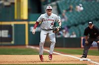 Oklahoma Sooners first baseman Tyler Hardman (36) on defense against the Missouri Tigers in game four of the 2020 Shriners Hospitals for Children College Classic at Minute Maid Park on February 29, 2020 in Houston, Texas. The Tigers defeated the Sooners 8-7. (Brian Westerholt/Four Seam Images)