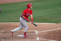 Philadelphia Phillies Nick Maton (67) hits a home run during a Major League Spring Training game against the Baltimore Orioles on March 12, 2021 at the Ed Smith Stadium in Sarasota, Florida.  (Mike Janes/Four Seam Images)