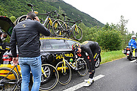 July 13th 2021, Saint-Gaudens, Haute-Garonne, France: VAN AERT Wout (BEL) of JUMBO-VISMA changes clothing during stage 16 of the 108th edition of the 2021 Tour de France cycling race, a stage of 169 kms between El Pas de la Casa and Saint-Gaudens.