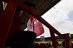 Nottingham Forest 3 Ipswich Town 0, 07/05/2017. City Ground, Championship. A Forest fan furls his flag before the game between Nottingham Forest v Ipswich Town at the City Ground Nottingham in the SkyBet Championship. Photo by Paul Thompson.