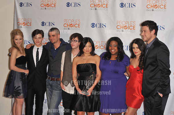 """Cast of """"Glee"""" at the 2010 People's Choice Awards at the Nokia Theatre L.A. Live in Los Angeles..January 6, 2010  Los Angeles, CA.Picture: Paul Smith / Featureflash"""