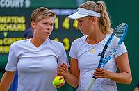 London, England, 5 th. July, 2018, Tennis,  Wimbledon, Women's doubles: Elise Mertens (BEL( and Demi Schuurs (NED) (L)<br /> Photo: Henk Koster/tennisimages.com