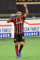 """ATLANTA, GA - AUGUST 22: Gonzalo """"Pity"""" Martinez #10 celebrates his second goal of match during a game between Nashville SC and Atlanta United FC at Mercedes-Benz Stadium on August 22, 2020 in Atlanta, Georgia."""