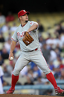 Joe Blanton #56 of the Philadelphia Phillies pitches against the Los Angeles Dodgers at Dodger Stadium on July 16, 2012 in Los Angeles, California. Philadelphia defeated Los Angeles 3-2. (Larry Goren/Four Seam Images)