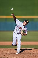 Mesa Solar Sox pitcher Cameron Hill (48), of the Cleveland Indians organization, during a game against the Scottsdale Scorpions on October 18, 2016 at Sloan Park in Mesa, Arizona.  Mesa defeated Scottsdale 6-3.  (Mike Janes/Four Seam Images)
