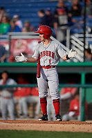 Auburn Doubledays Phil Caulfield (1) during a NY-Penn League game against the Batavia Muckdogs on June 14, 2019 at Dwyer Stadium in Batavia, New York.  Batavia defeated 2-0.  (Mike Janes/Four Seam Images)