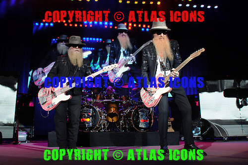 WEST PALM BEACH, FL - MAY 8: Dusty Hill, Frank Beard and Billy Gibbons of ZZ Top perform at The Coral Sky Amphitheater on May 8, 2015 in West Palm Beach Florida. Credit Larry Marano © 2015