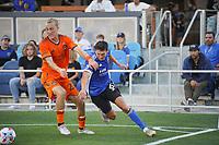 SAN JOSE, CA - JULY 24: Shea Salinas #6 of the San Jose Earthquakes during a game between Houston Dynamo and San Jose Earthquakes at PayPal Park on July 24, 2021 in San Jose, California.